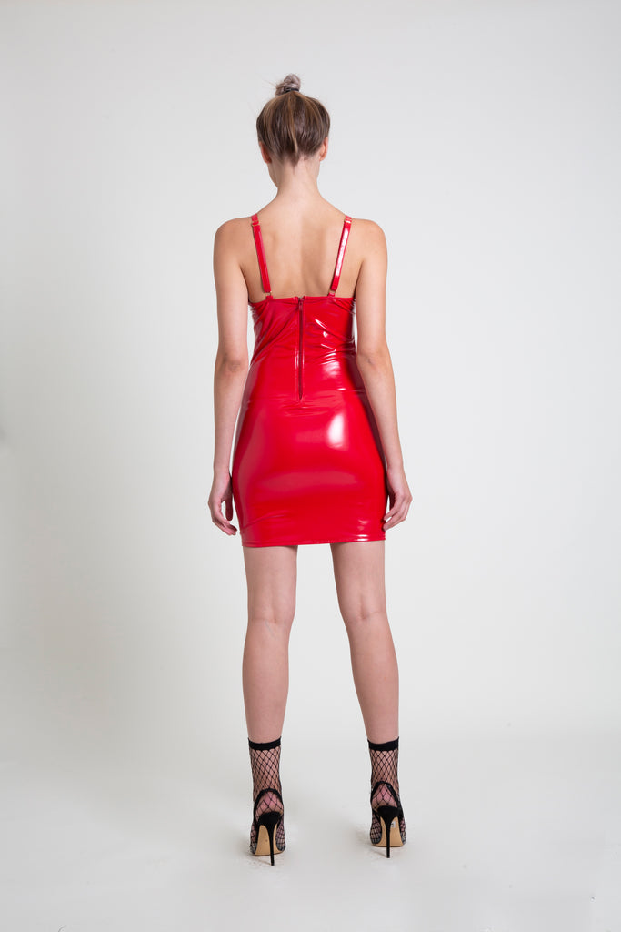 The Red PVC Mini Dress