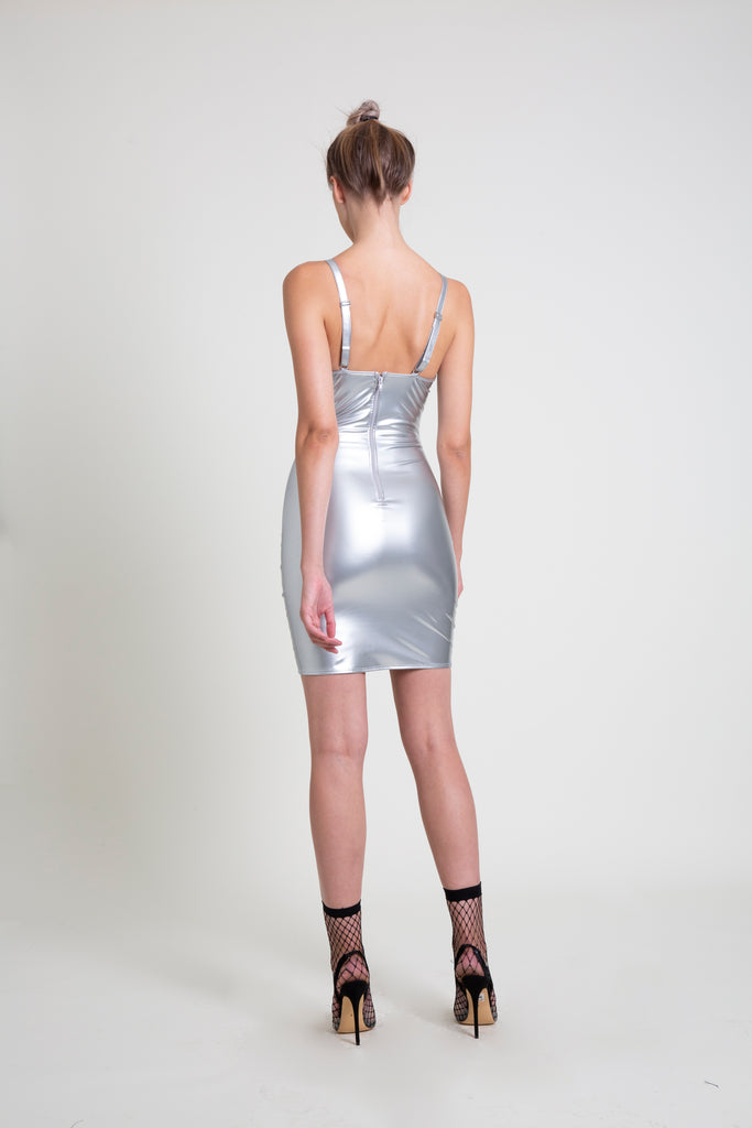 The Silver PVC Mini Dress