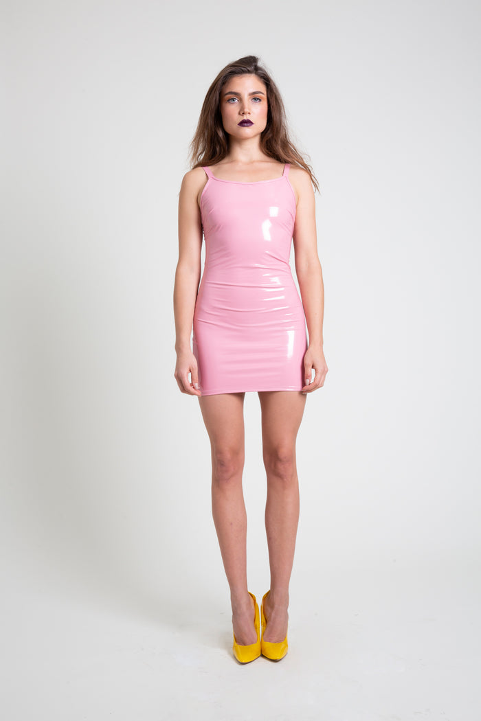 The Pale Pink PVC Mini Dress