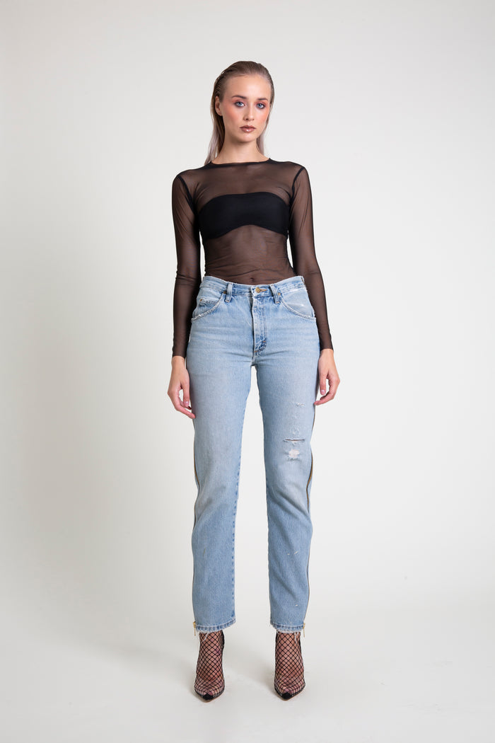 The Black Mesh Long Sleeve Top