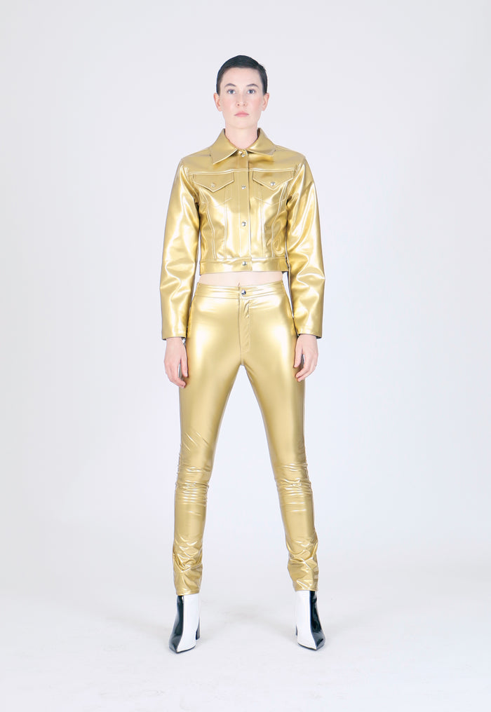 The High Waist Metallic PVC Pant