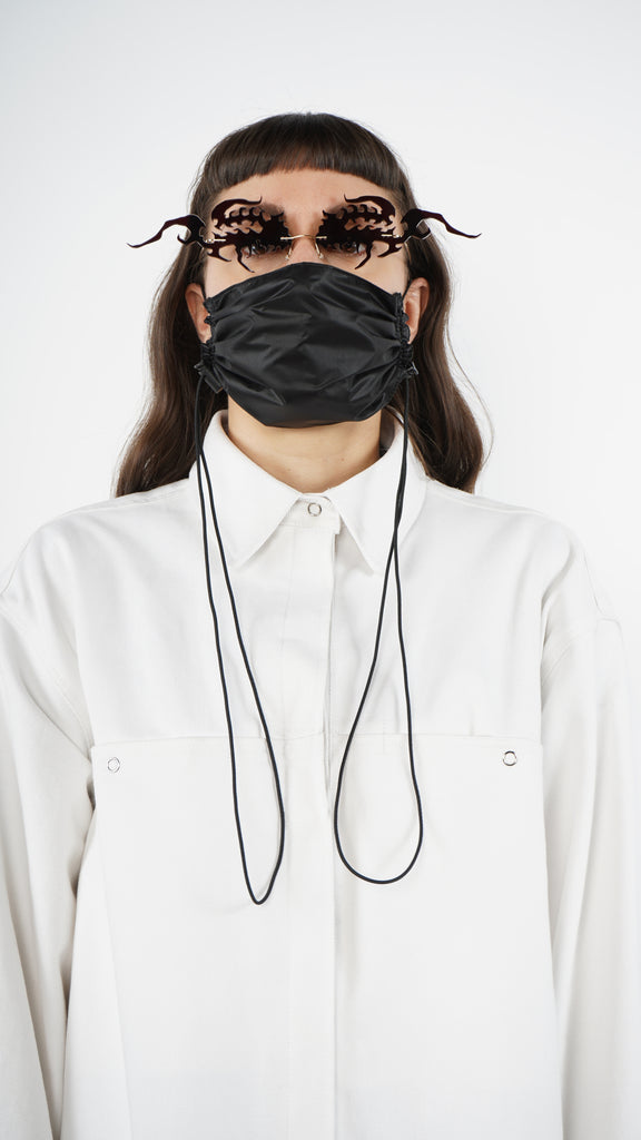 The Black Nylon Adjustable Bungee Cord Mask