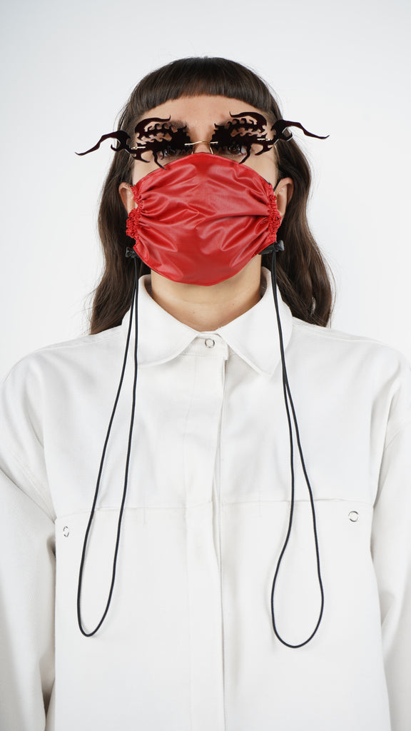 The Red Nylon Adjustable Bungee Cord Mask L A Roxx