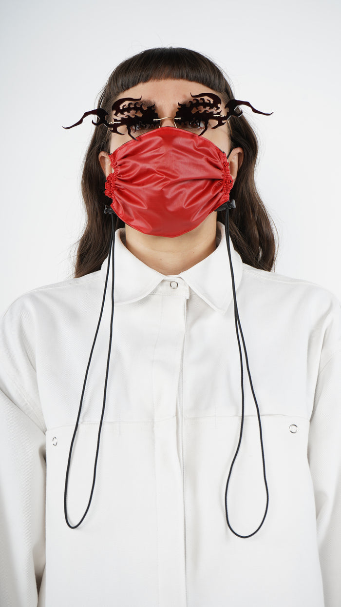 The Red Nylon Adjustable Bungee Cord Mask