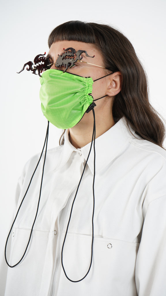 The Green Nylon Adjustable Bungee Cord Mask L A Roxx