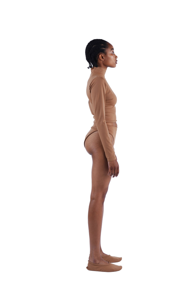 The Long Sleeve Mock Crop - Nude 02