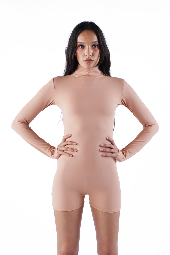 The Long Sleeve Romper - Nude 01