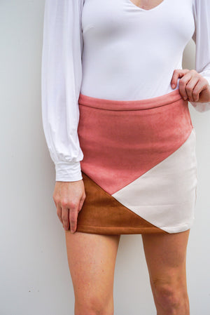 Color Block Suede Skirt