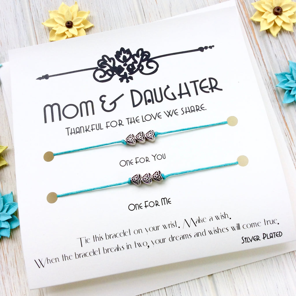 Mother and Daughter Matching Heart Bracelets Set of 2 Red String
