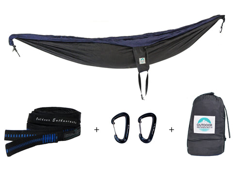Two Person Portable Hammock | Black & Navy Blue