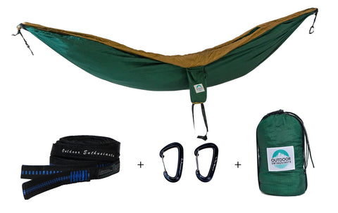Two Person Portable Hammock | Forest Green & Tan