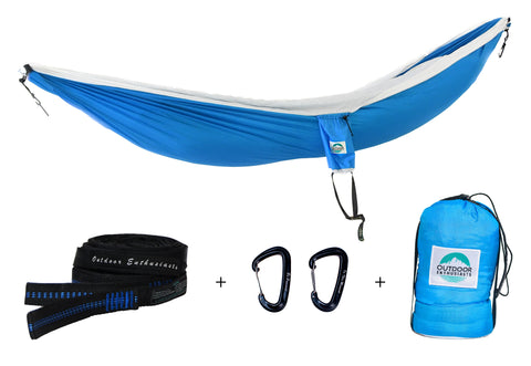 Two Person Portable Hammock | Light Sky Blue & White