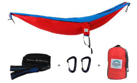 Two Person Portable Hammock | Radically Red & Classic Blue