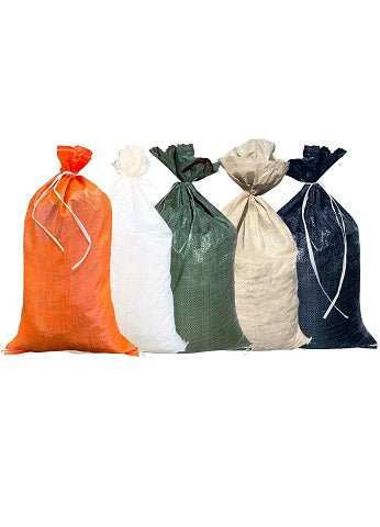 Poly sandbags for sale and flooding, empty poly bags, tent and store bags