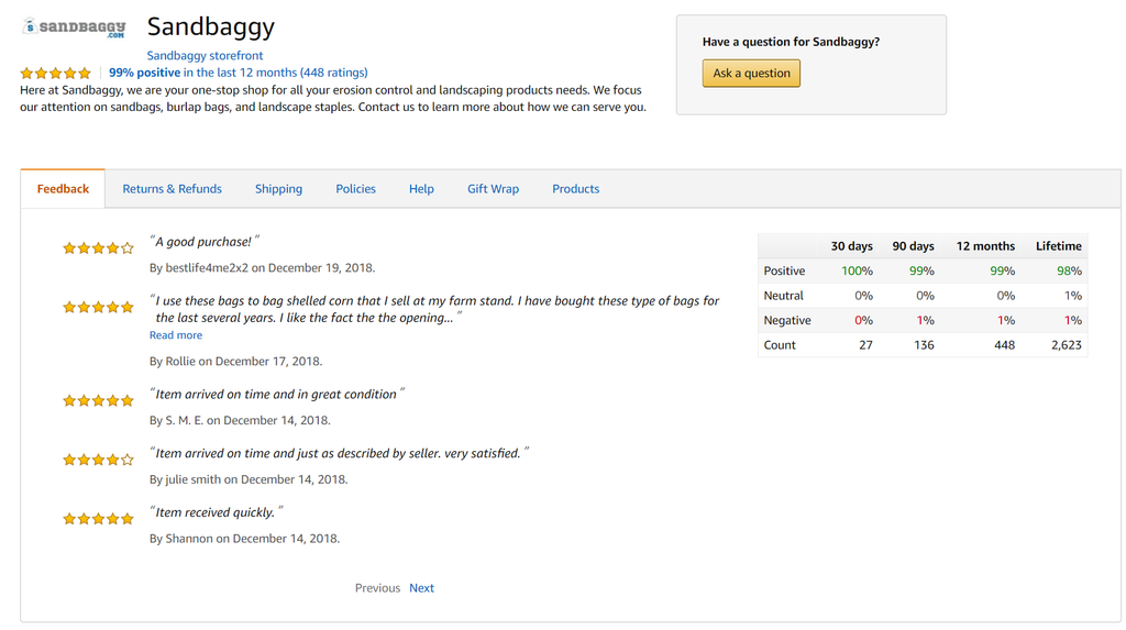 Sandbaggy: 99% positive feedback on Amazon