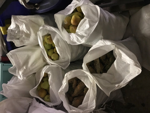 Apples and corn stored in 18x30 heavy duty sandbags