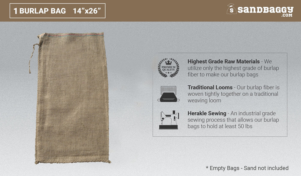 Wall of 14x26 burlap sandbags, burlap sacks