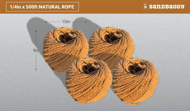 Sisal Rope - 1/4 Inch x 500 Feet [100% Cat Friendly]