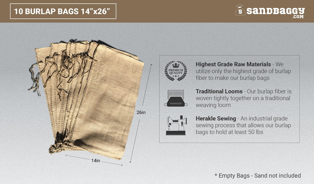 10 burlap bags 14x26: highest grade raw materials, traditional looms, herakle sewing
