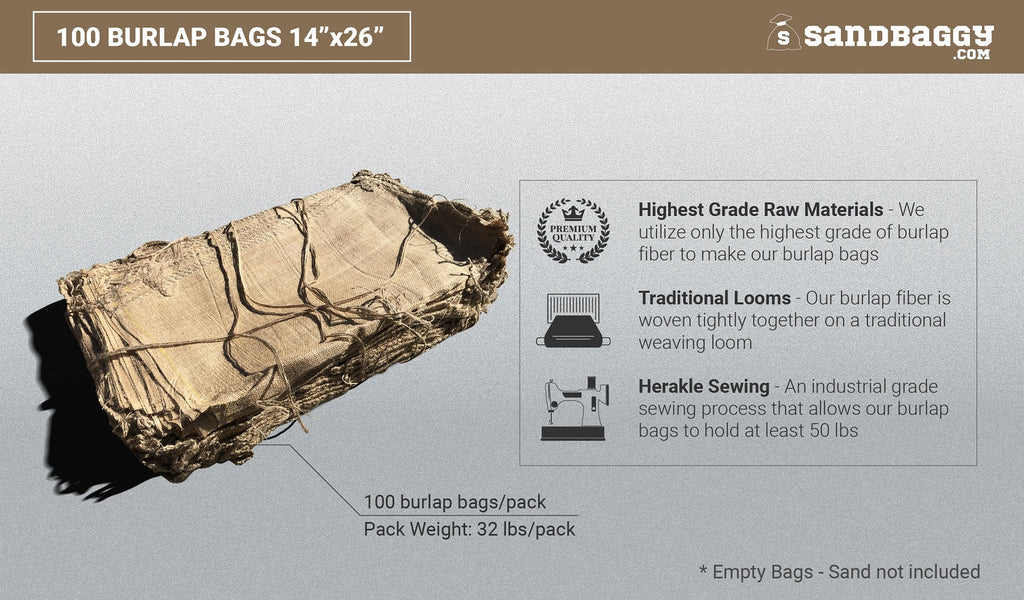 100 burlap bags 14x26: highest grade raw materials, traditional looms, herakle sewing