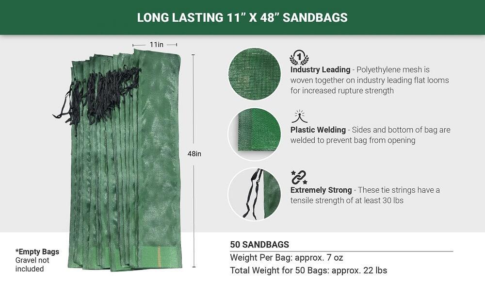 "50 Long Lasting 11"" x 48"" Sandbags: Industry Leading (Polyethylene mesh is woven together on industry leading flat looms for increased rupture strength), Plastic Welding (Sides and bottom of bag are welded to prevent bag from opening), Extremely Strong (These tie strings have a tensile strength of at least 30 lbs). Empty Bags - Gravel not included. Weight per bag: approx. 7 oz. Total weight for 5 bags: approx. 22 lbs."