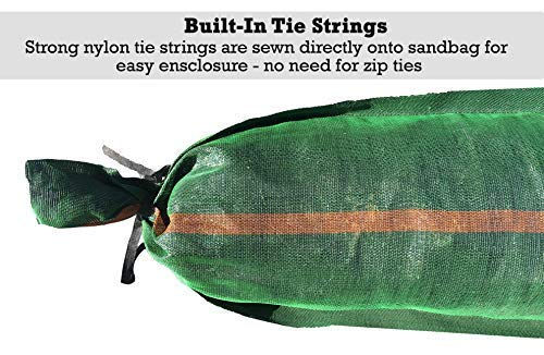 "Sandbaggy 11"" x 48"" tube sandbags have built-in tie strings. Strong nylon tie strings are sewn directly onto the sandbag for easy enclosure. No need for zip ties."