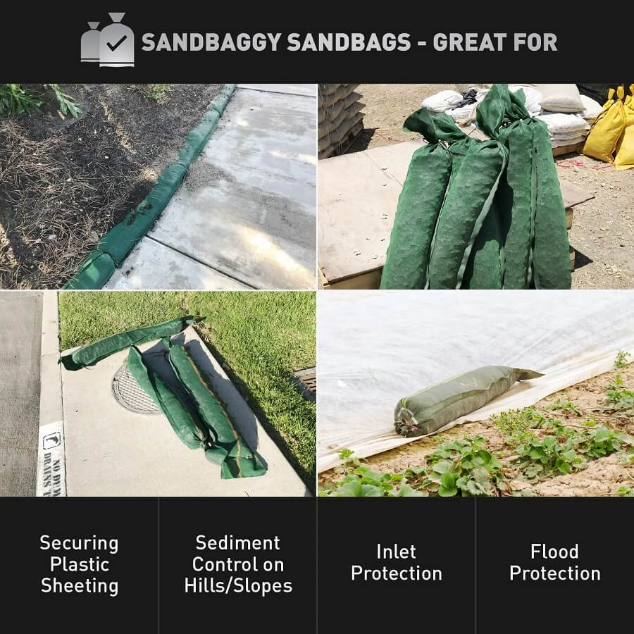 "Sandbaggy 11"" x 48"" tube sandbags are great for securing plastic sheeting, sediment control on hills/slopes, inlet protection, and flood protection."