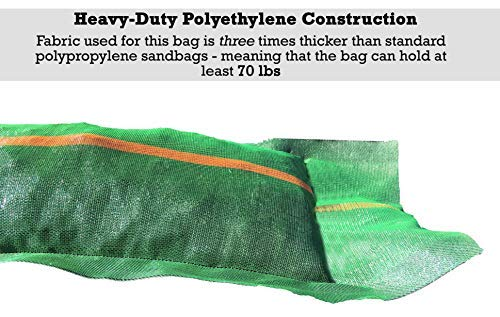"Sandbaggy 11"" x 48"" tube sandbags have heavy-duty polyethylene construction. Fabric used in this bag is three times thicker than standard polypropylene sandbags, meaning that the bag can hold at least 70 lbs."