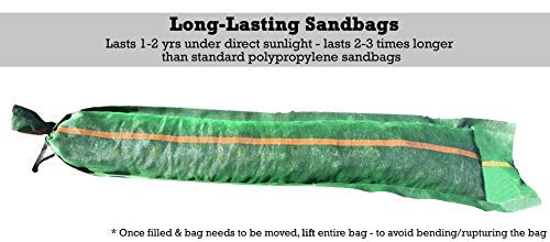 "Sandbaggy 11"" x 48"" tube sandbags are long-lasting sandbags. They last 1-2 years under direct sunlight and last 2-3 times longer than standard polypropylene sandbags. After the bag is filled, move the bag by lifting the entire bag, so as to avoid bending or rupturing the bag."