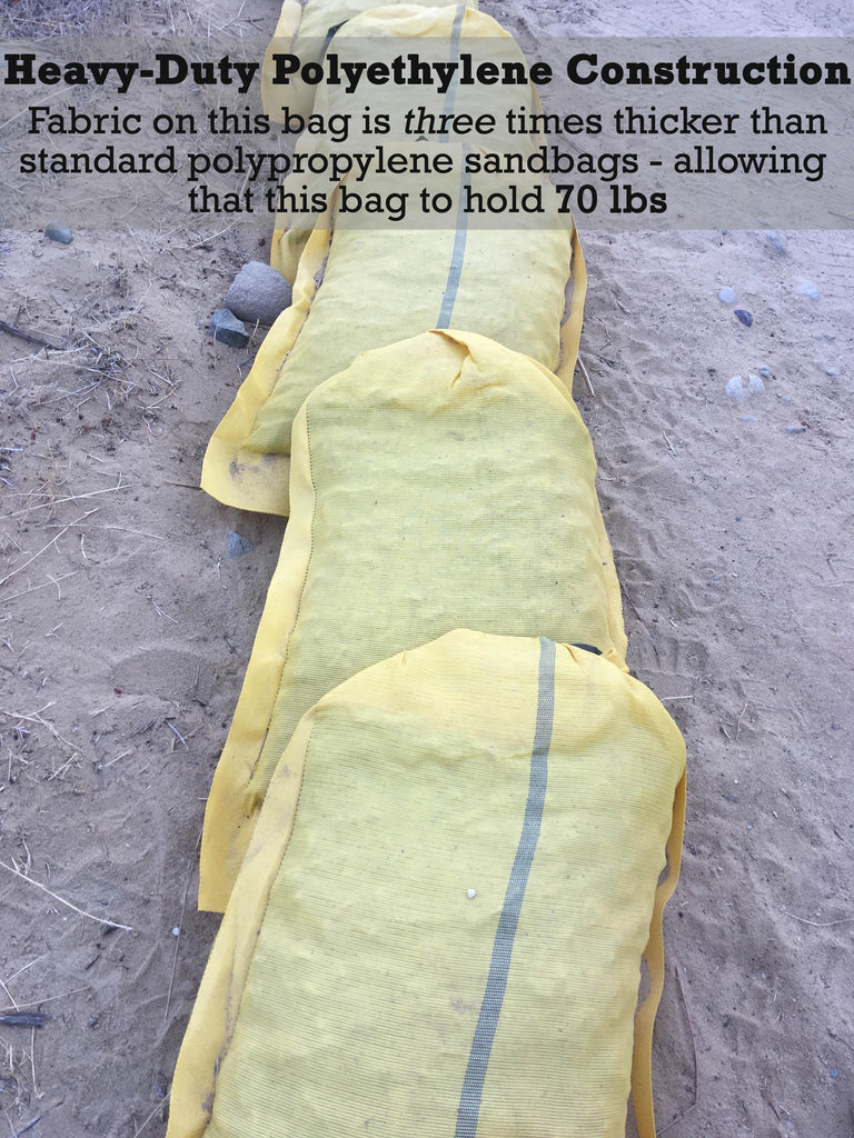 Heavy-Duty Polyethylene Construction: Fabric on this bag is three times thicker than standard polypropylene sandbags - allowing this bag to hold 70 lbs