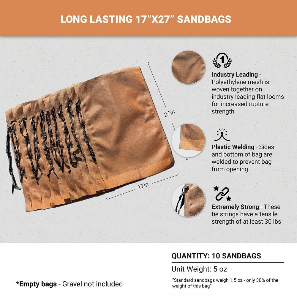 17-inch x 27-inch Polyethylene, Long-Lasting Sandbags (1-2 Years)