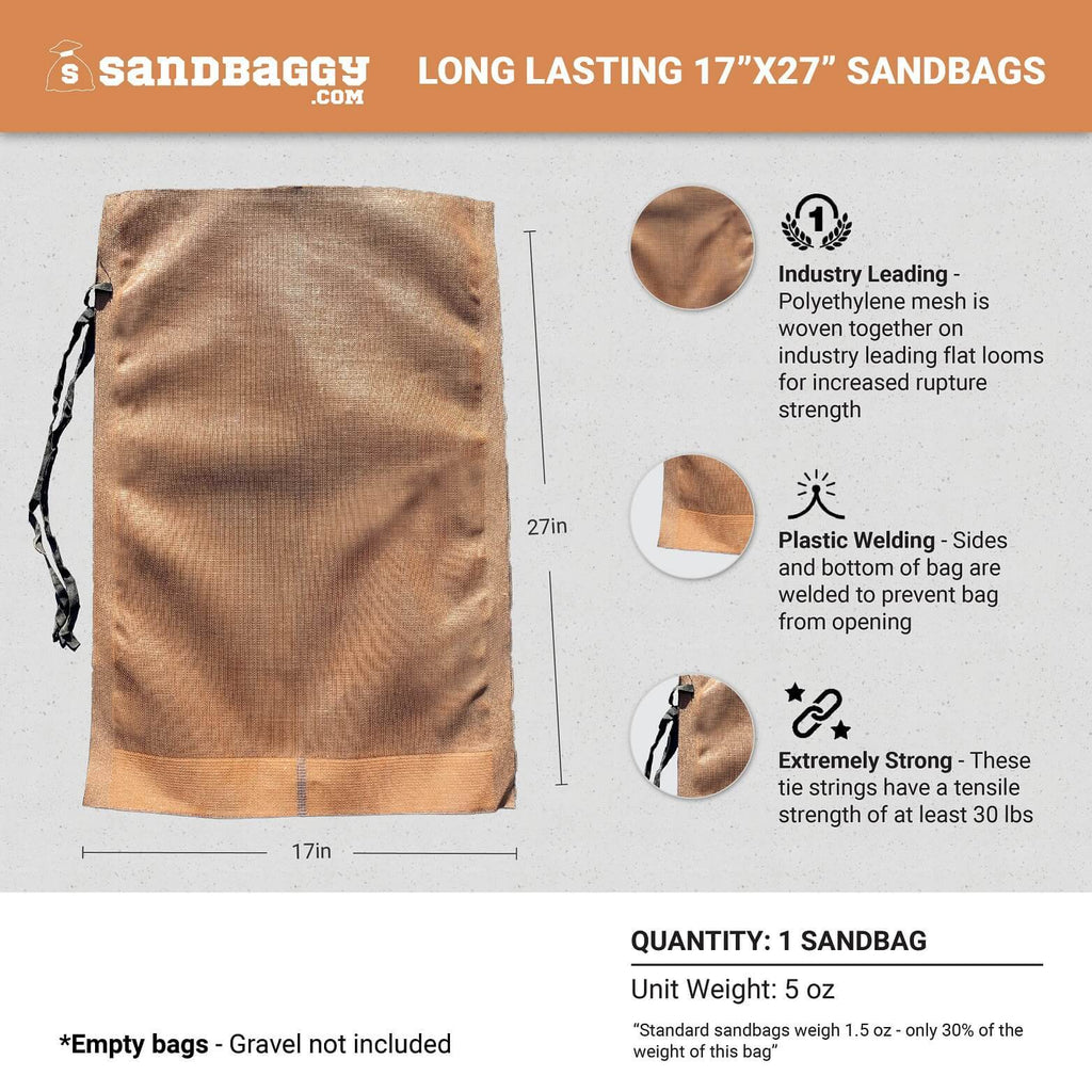 "1 Long Lasting 17"" x 27"" Sandbag: Industry Leading (Polyethylene mesh is woven together on industry leading flat looms for increased rupture strength), Plastic Welding (Sides and bottom of bag are welded to prevent bag from opening), Extremely Strong (These tie strings have a tensile strength of at least 30 lbs). Empty Bags - Gravel not included. Unit weight: 5 oz. Standard sandbags weigh 1.5 oz - only 30% of the weight of this bag."