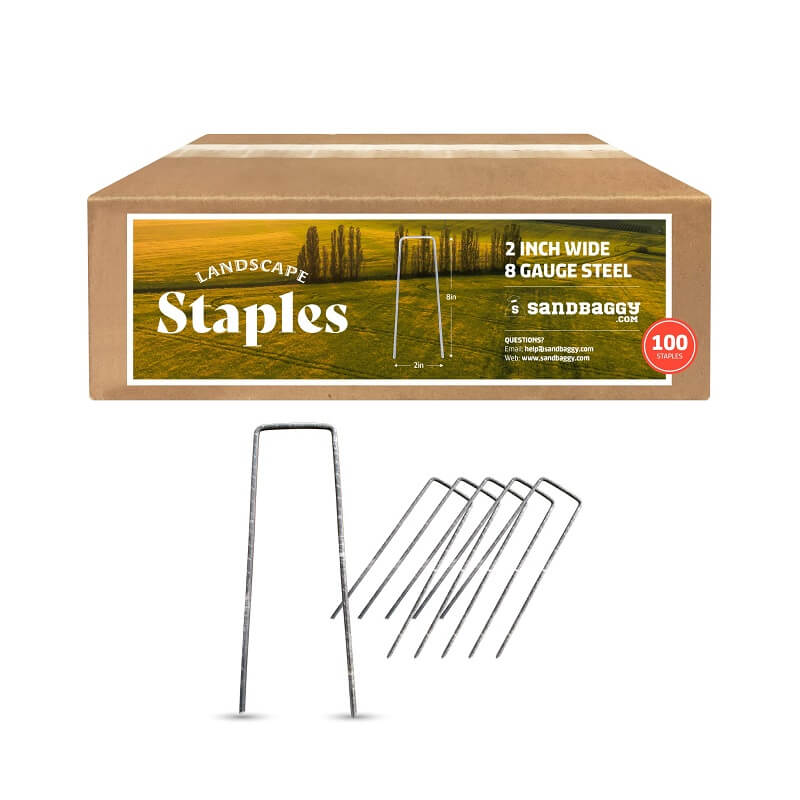 "8"" long x 2"" wide landscape staples: 2 inch wide, 8 gauge steel (100 staples)"