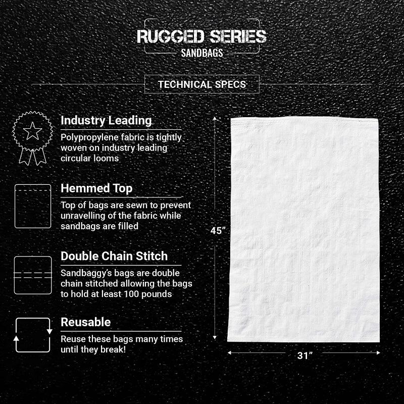 White 31x45 Thick Heavy Duty Filled Contractor Bags, Garbage Bags, Construction Trash Bags