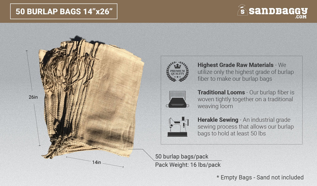 50 burlap bags 14x26: highest grade raw materials, traditional looms, herakle sewing