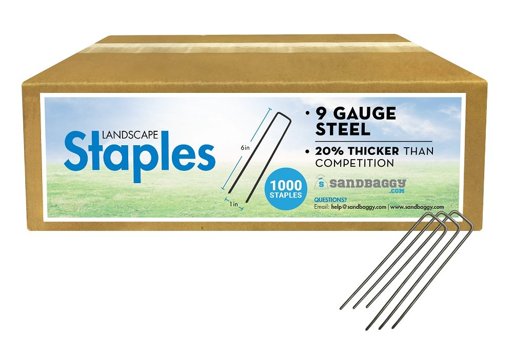 Box of 1,000 Landscape Staples: 9 Gauge Steel: 20% thicker than competition