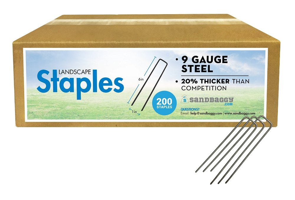 Box of 200 Landscape Staples: 9 Gauge Steel: 20% thicker than competition