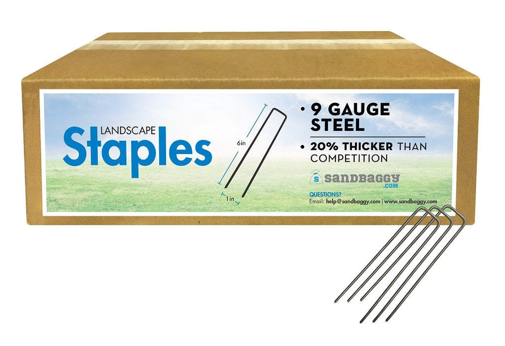 Landscape Staples: 9 Gauge Steel: 20% thicker than competition (cardboard box)