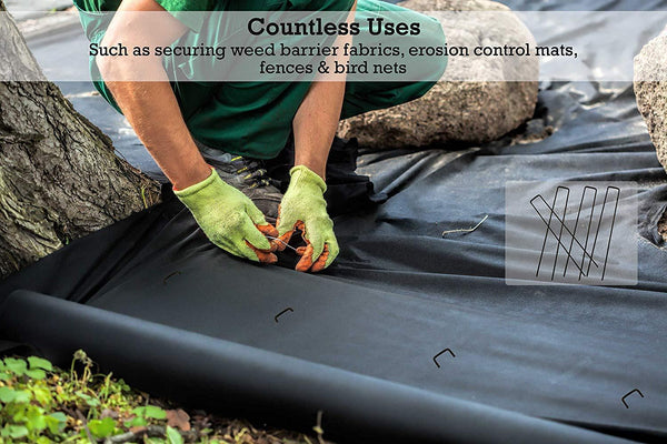 9 inch landscape staples have countless uses, such as securing weed barrier fabrics, erosion control mats, fences and bird nets.