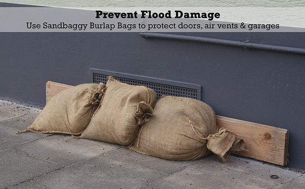 Prevent Flood Damage: Use Sandbaggy Burlap Bags to protect doors, air vents and garages
