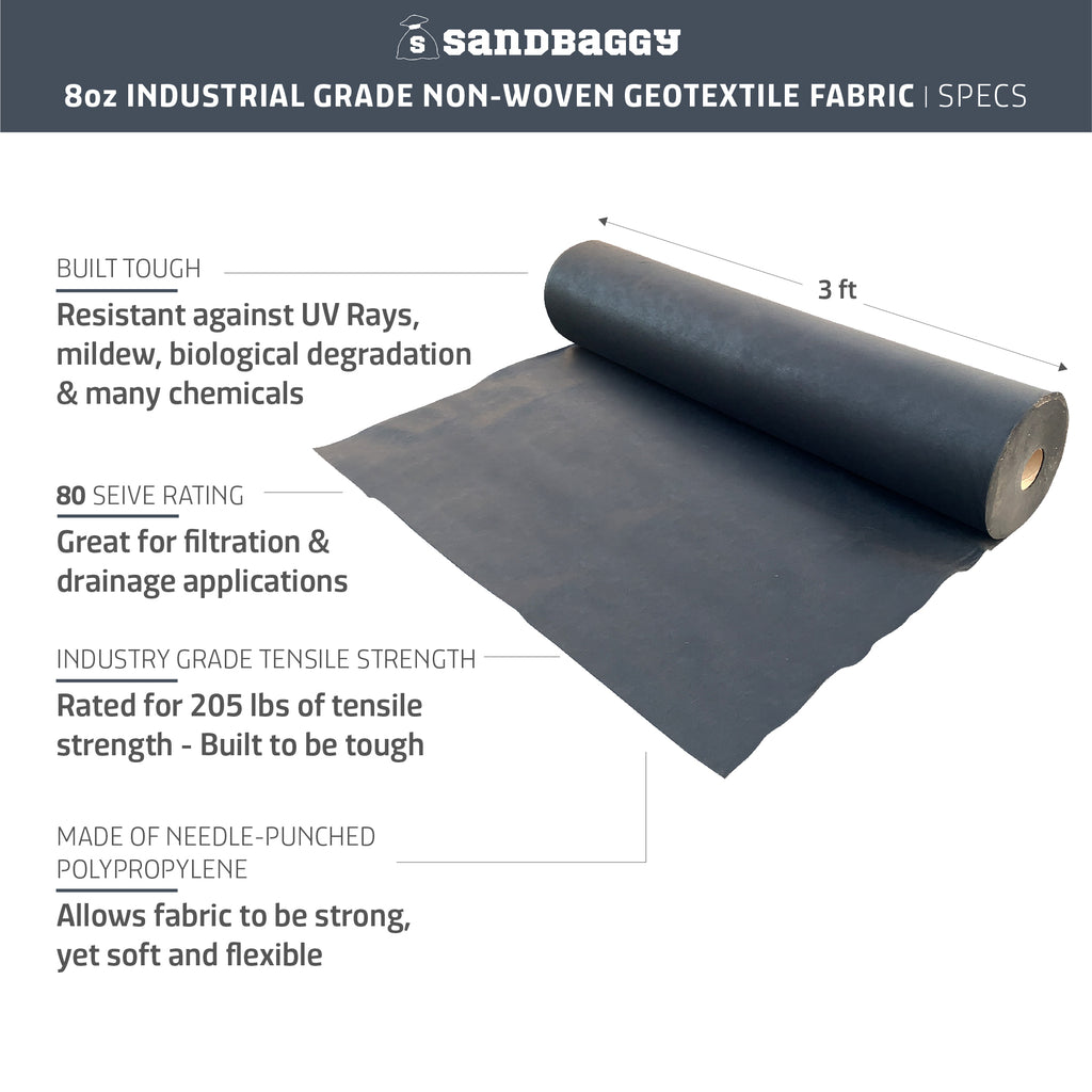 Non-Woven Filter Fabric 8 oz - Landscape Fabric - Toughest on the Market