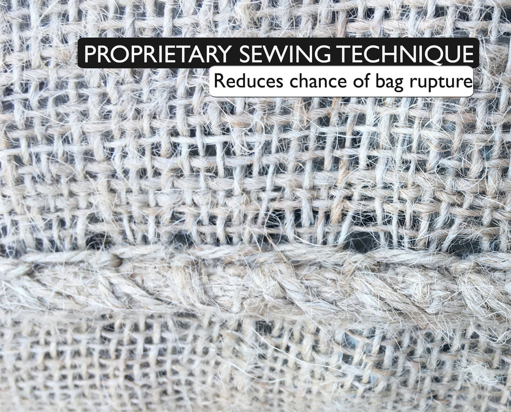 Sandbaggy burlap bags are made with a proprietary sewing technique, which reduces the chance of bag rupture