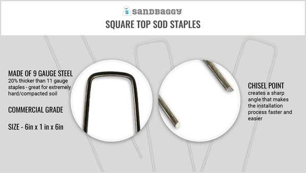 Sandbaggy square top sod staples made of 9 gauge steel (20% thicker than 11 gauge staples - great for extremely hard and compacted soil where 11 gauge staples will bend). They are commercial grade and size 6in x 1in x 6in.