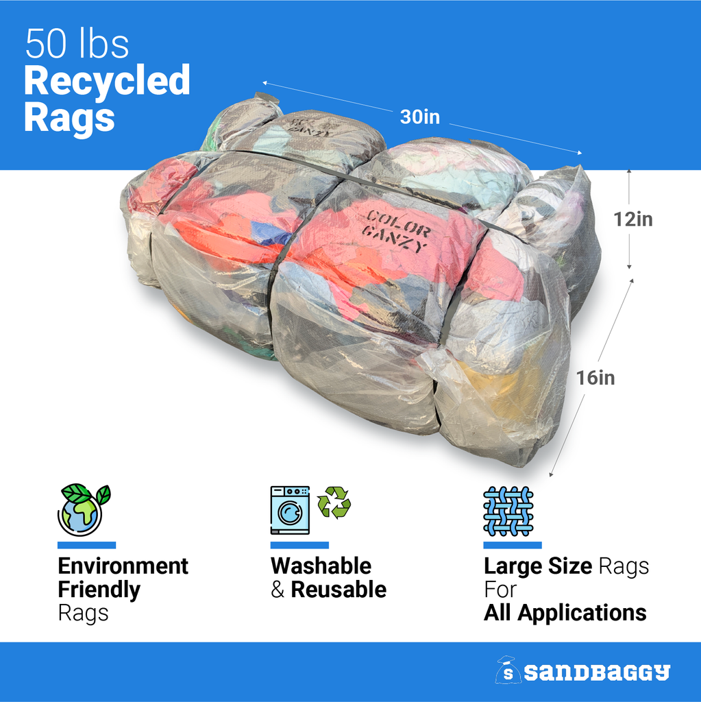50 lbs Recycled Rags: 30 in long x 16 in wide x 12 in high: Environmentally Friendly Rags, Washable & Reusable, Large Size Rags For All Applications