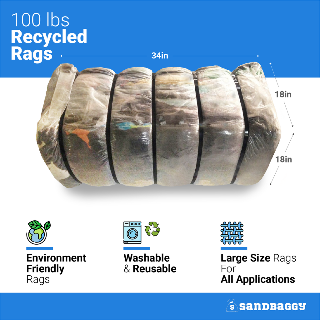 100 lbs Recycled Rags: 34 in long x 18 in wide x 18 in high: Environmentally Friendly Rags, Washable & Reusable, Large Size Rags For All Applications