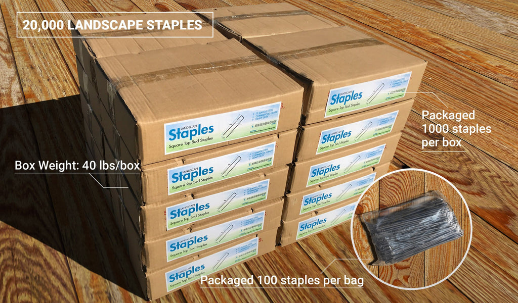 20,000 6-inch Landscape Staples: box weight (40 lbs/box), packaged 1000 staples per box, packaged 100 staples per bag
