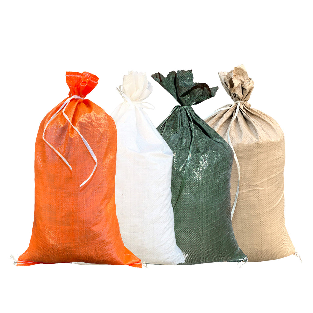 14x26 Empty Woven Polypropylene Sandbags: available in white, green, beige, and orange