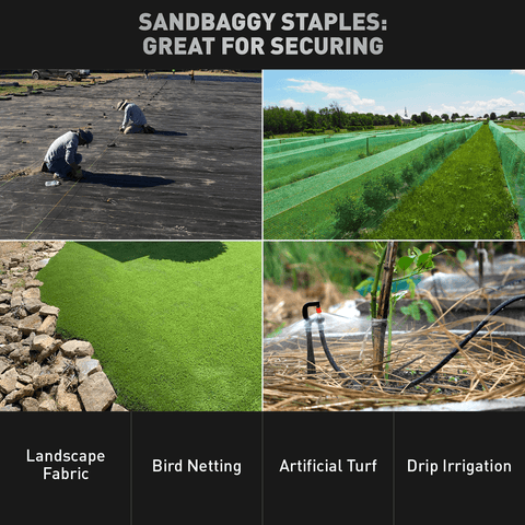 Sandbaggy staples are great for securing landscape fabric, bird netting, artificial turf, and drip irrigation.