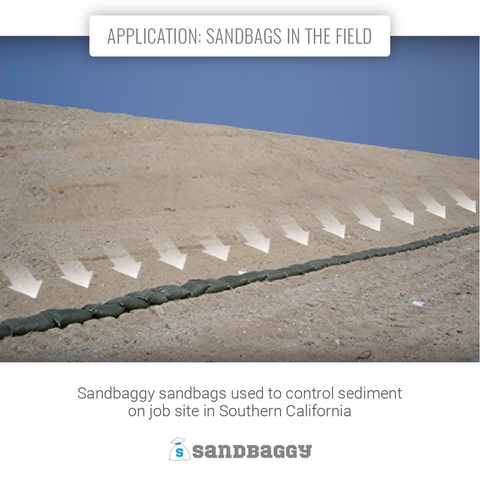 Application: sandbags in the field: Sandbaggy sandbags used to control sediment on job site in Southern California