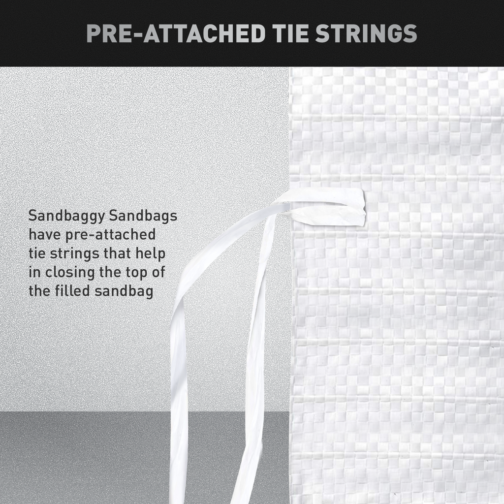 Pre-Attached Tie String: Once the sandbag is filled, use pre-attached tie string to close the top of the bag